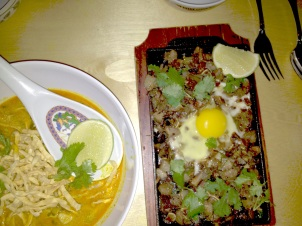 Pig and Khao's Sizzling Sisig & Khao Soi